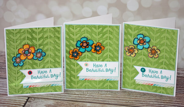 3 Happy Birds Embossed Cards