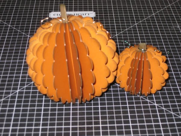 a large and small scalloped pumpkin