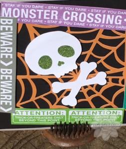 Closeup Monster Crossing Halloween Card
