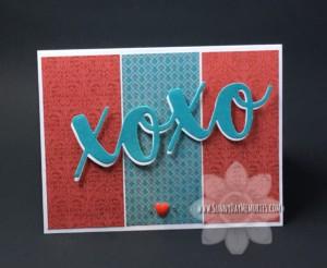 Altered XOXO Valentine Card