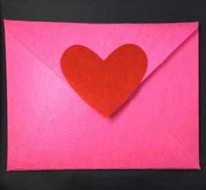Pink Felt Envelope