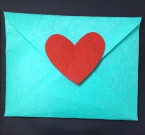 Turquoise Felt Envelope