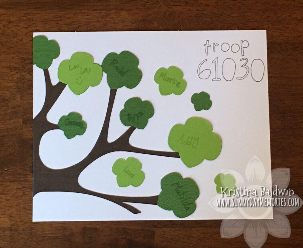 Girl Scout Trefoil Tree Art