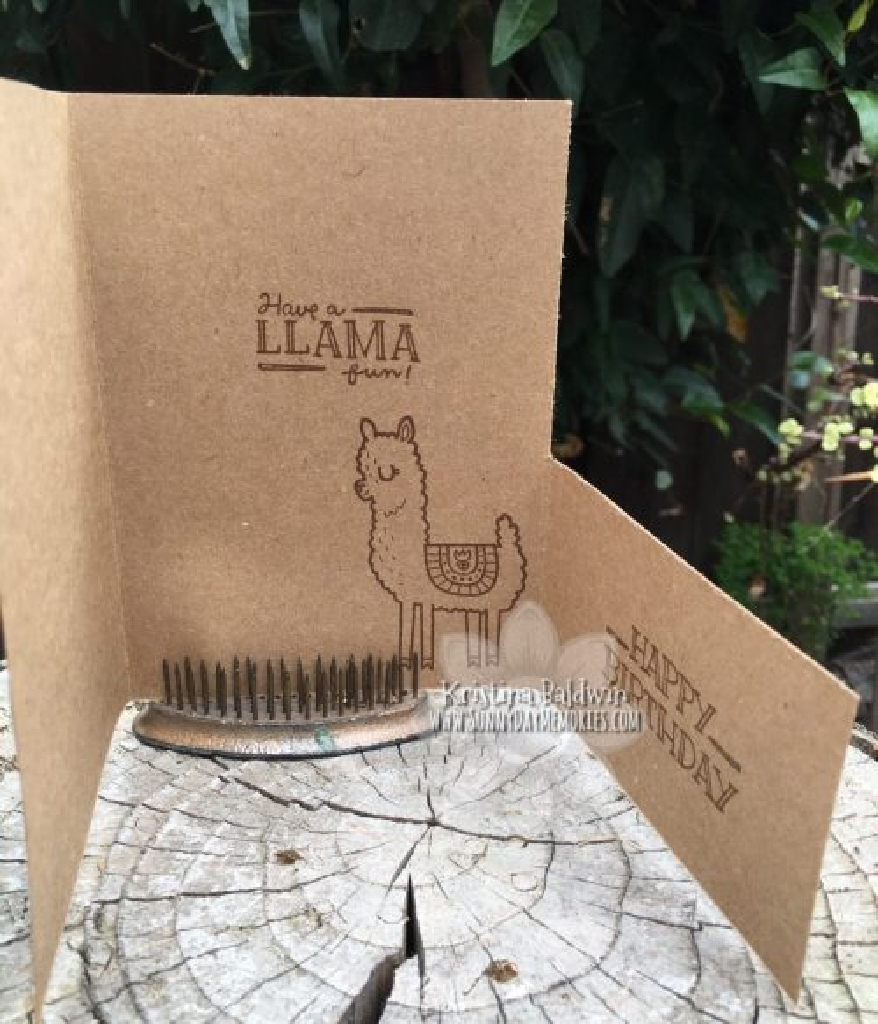 Inside Llama Fun Fold Card