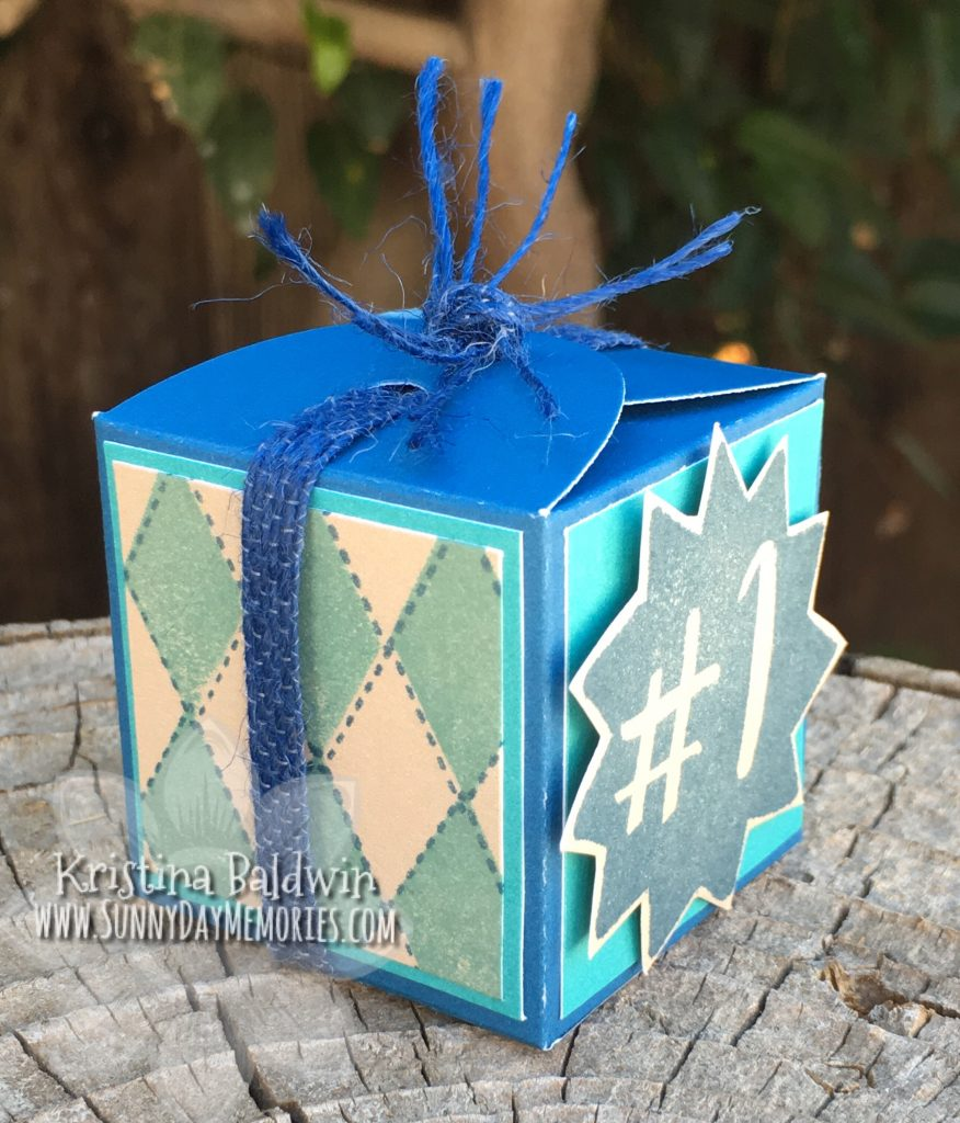 Side View of Argyle Favor Box