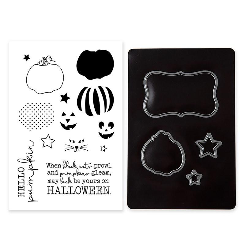 Hello Pumpkin Cardmaking Stamp + Thin Cuts dies