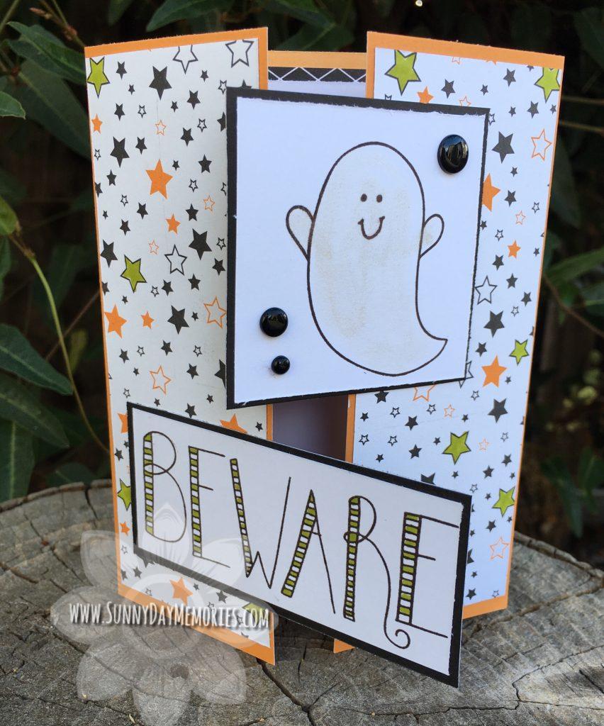 Beware Halloween Ghost Card Slightly Open