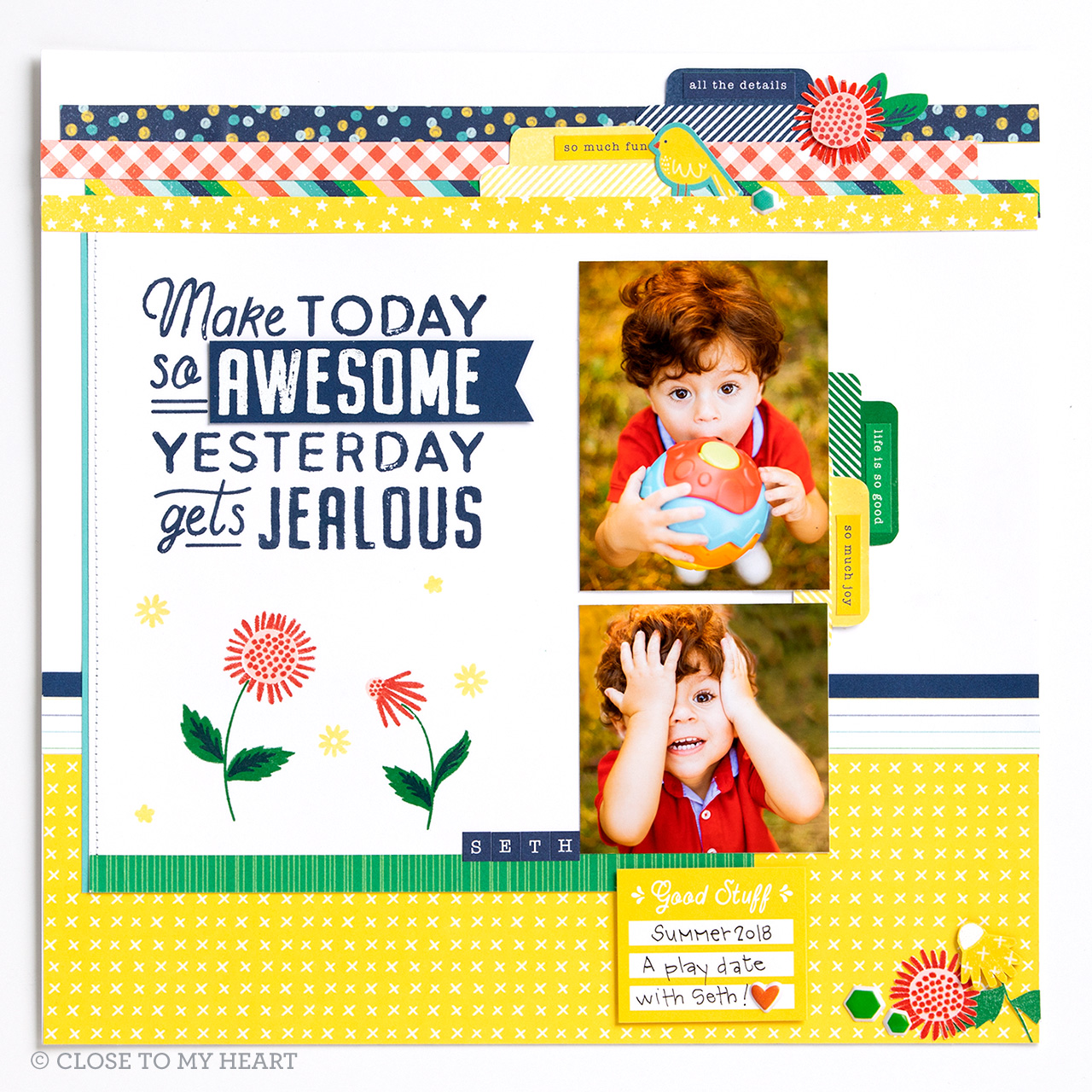 CTMH Yesterday Gets Jealous Scrapbook Layout