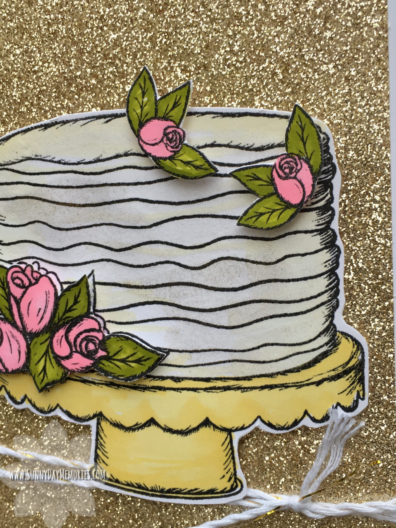 Closeup CTMH It's Your Day to Sparkle Cake Card