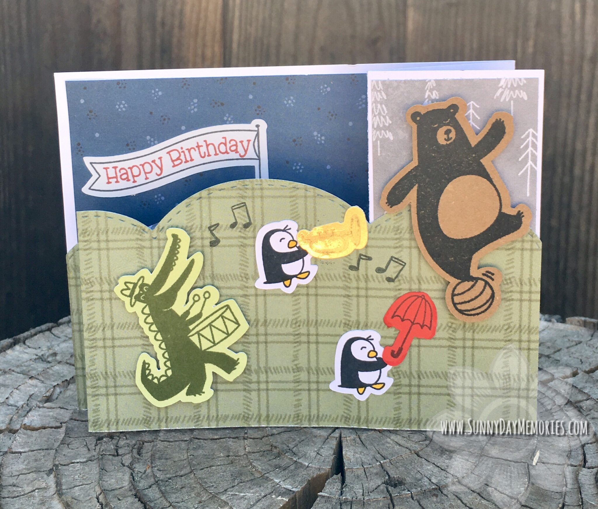CTMH Birthday Parade Double Z Fold Card