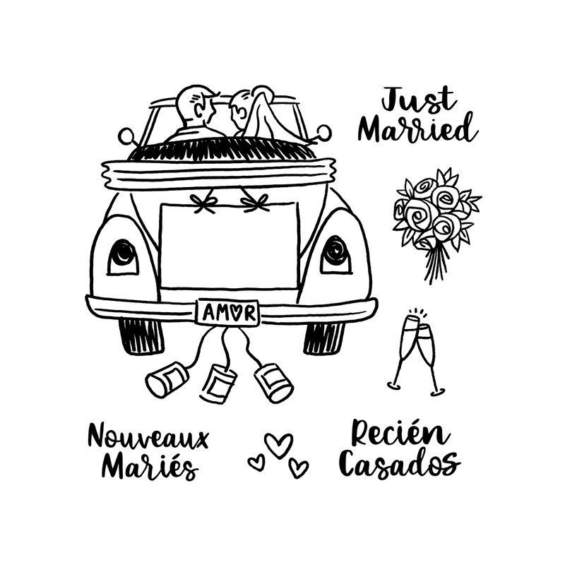 CTMH Just Married Ride Stamp Set