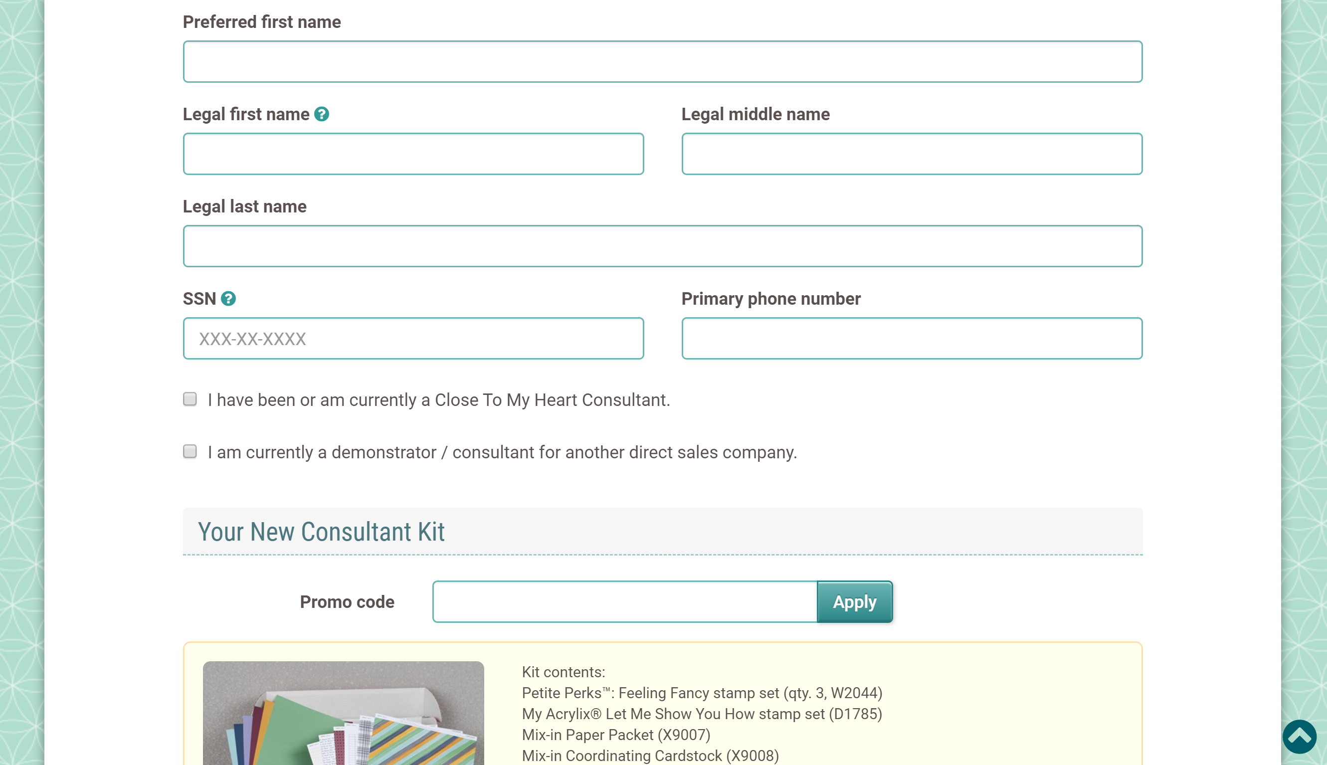 Screenshot of CTMH Consultant Sign Up Page