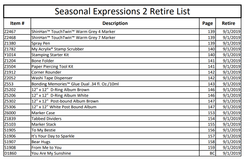 CTMH 2019 Seasonal Expressions 2 Retirement List Page 7