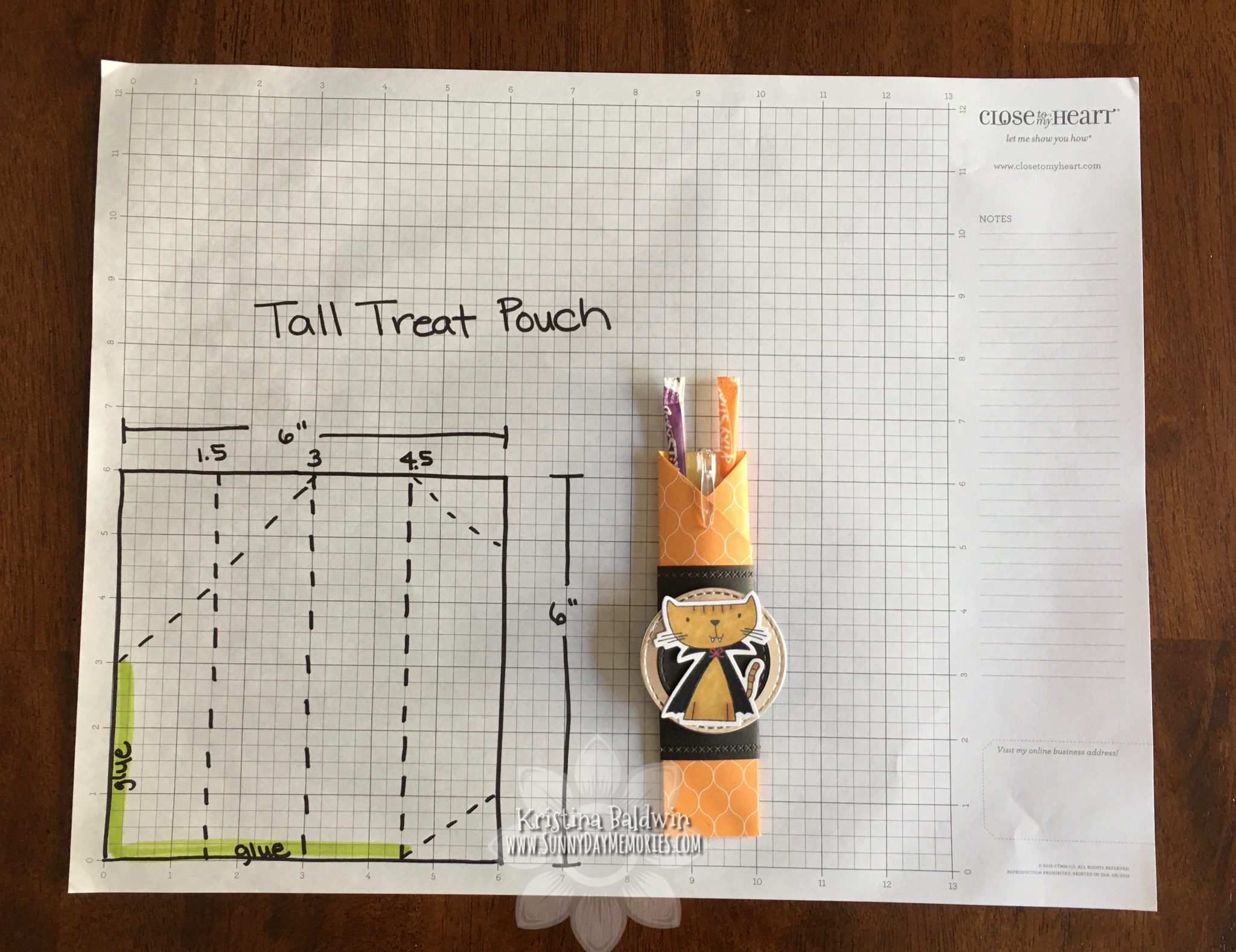 Tall Treat Pouch How-to Diagram