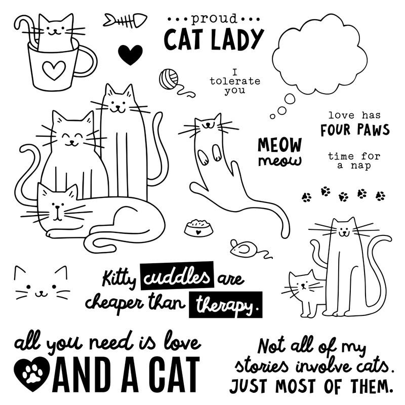 CTMH Kitty Cuddles Stamp Set