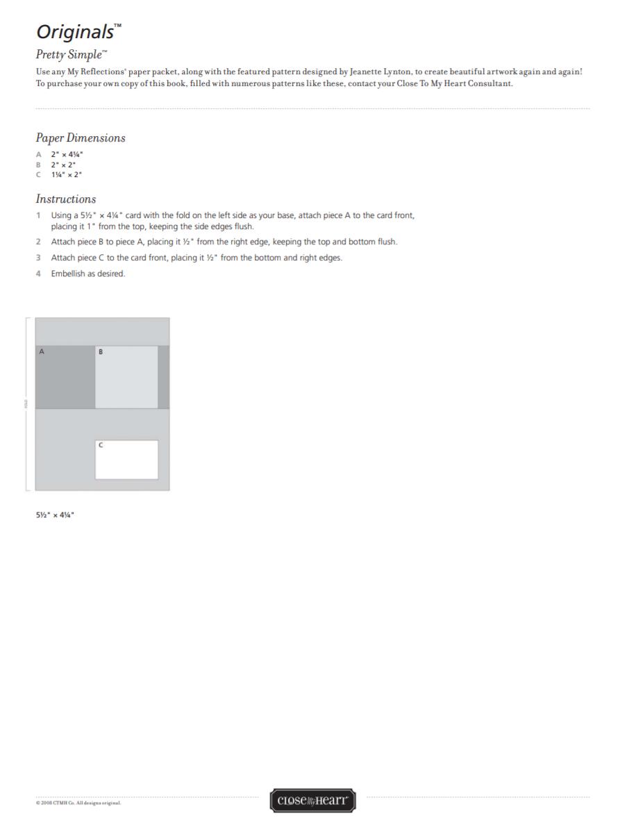 CTMH Originals Pretty Simple Card Pattern