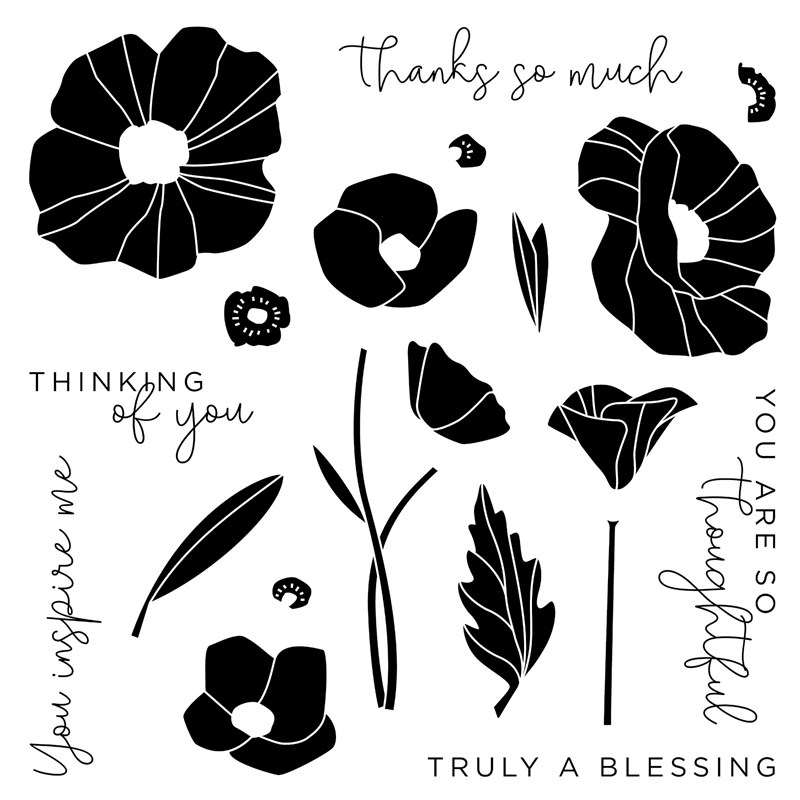 CTMH Poppy Sentiments Stamp Set