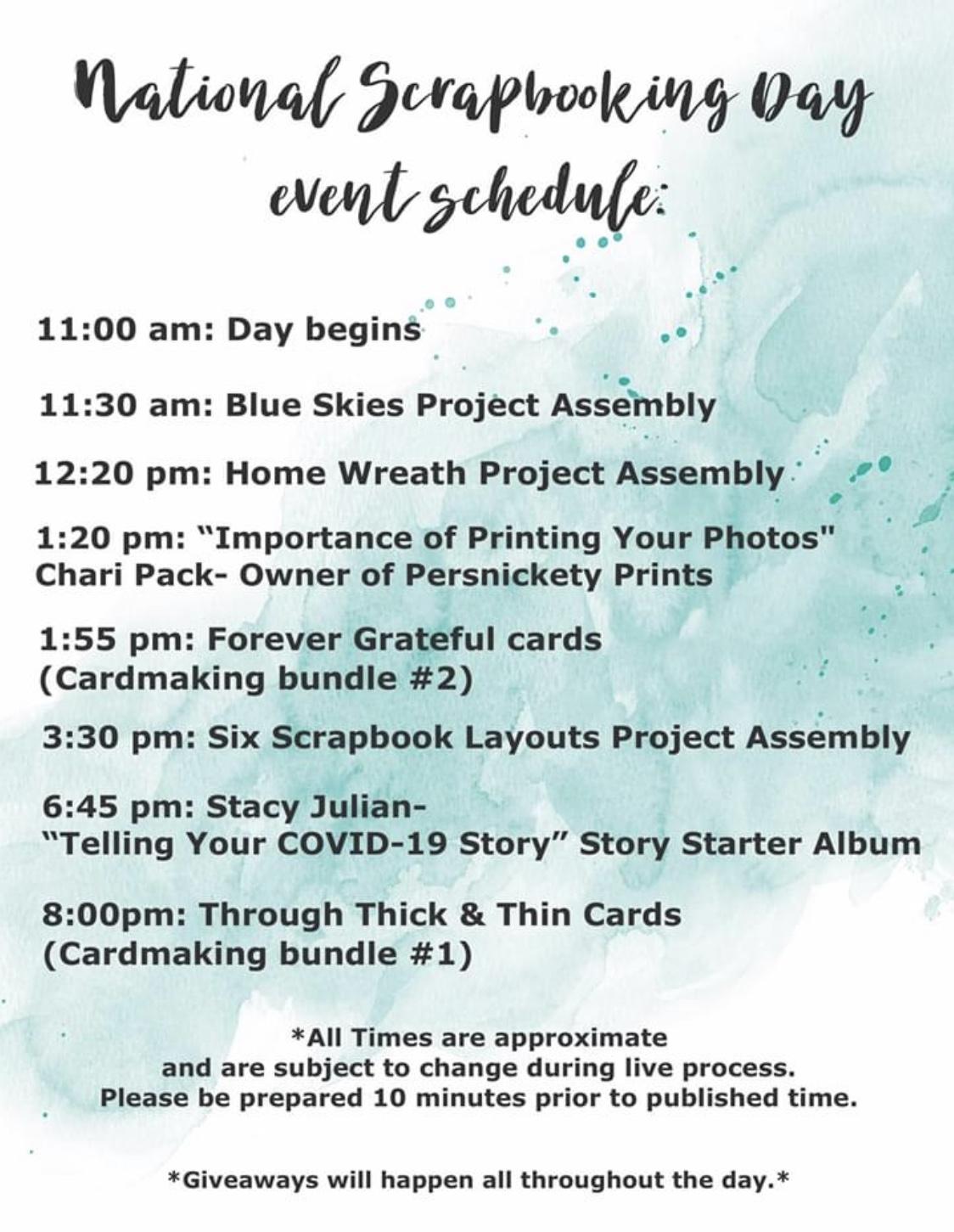 CTMH National Scrapbooking Day Schedule