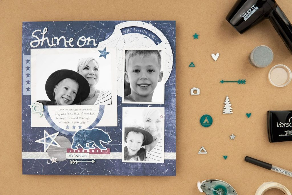 CTMH Shine On Layout with Heat Embossed Acrylic Shapes