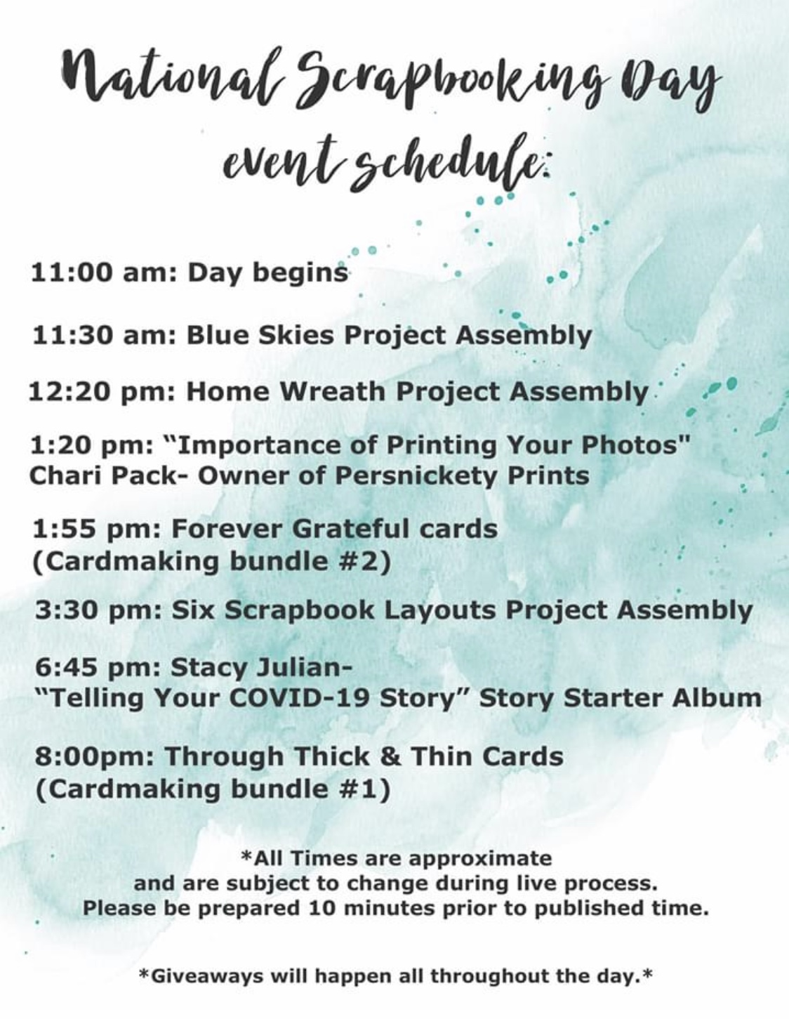 CTMH National Scrapbooking Day Schedule