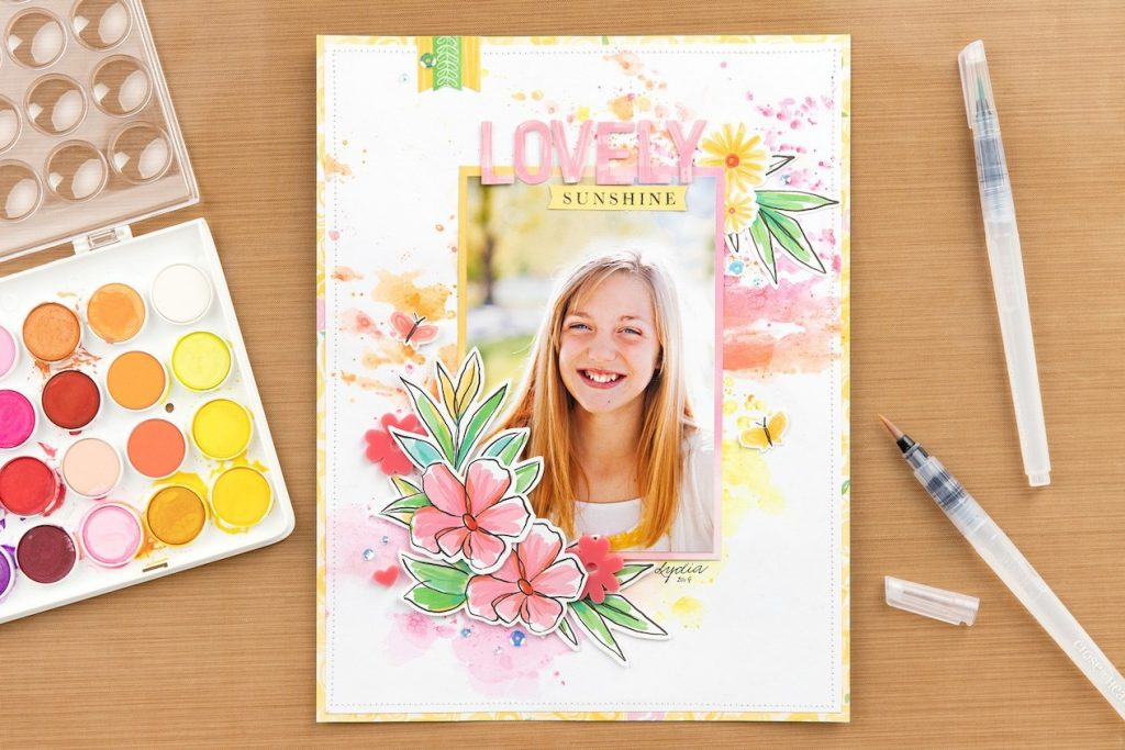 CTMH Lovely Sunshine Watercolor Layout