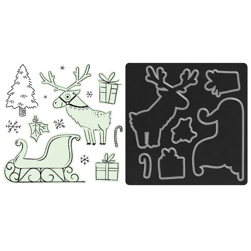 CTMH Santa's Sleigh Stamp + Thin Cuts