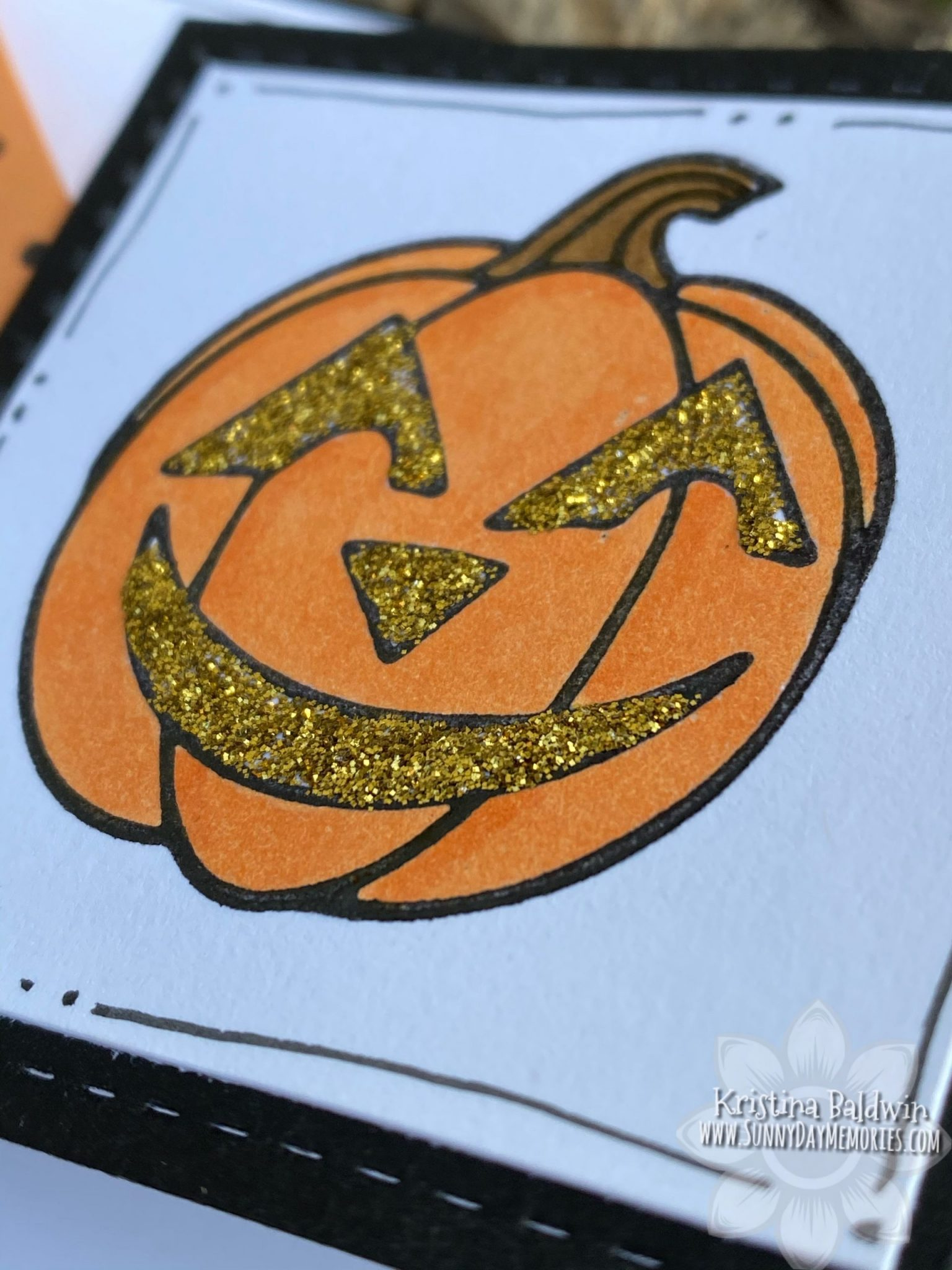 Jack-o'-lantern Triangle Fun Fold Card Closeup