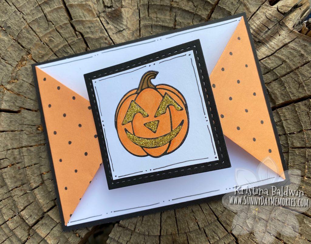 Jack-o'-lantern Triangle Fun Fold Card