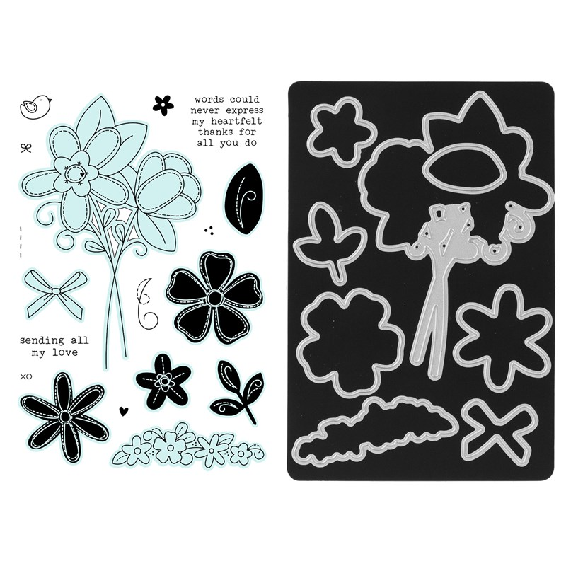 CTMH Stitched Florals Stamp + Thin Cuts Z3698