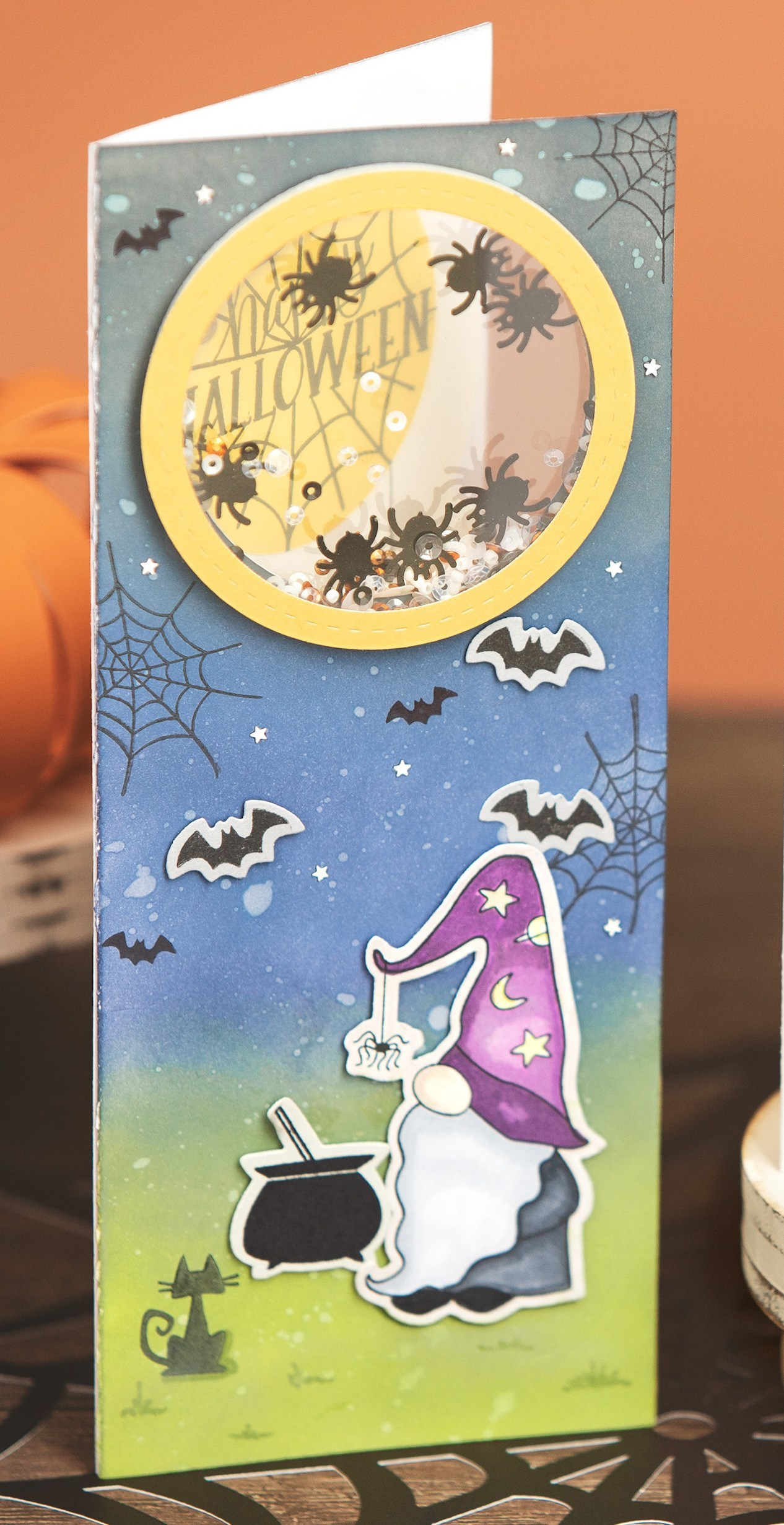 Halloween See-through Shaker Window Slimline Card