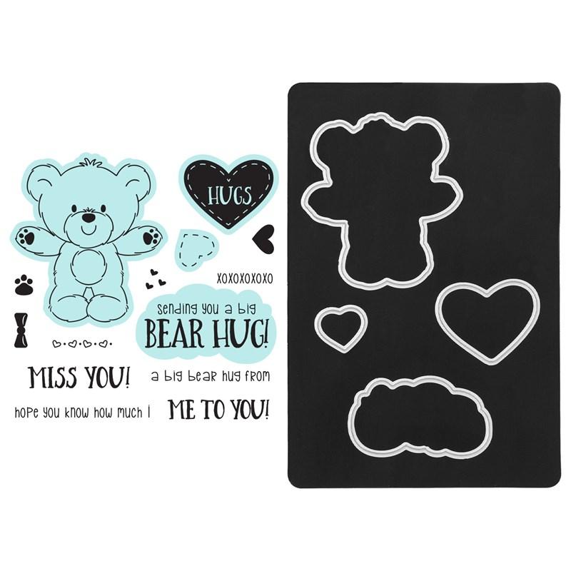 CTMH Teddy Bear Hugs Stamp + Thin Cuts Z3774