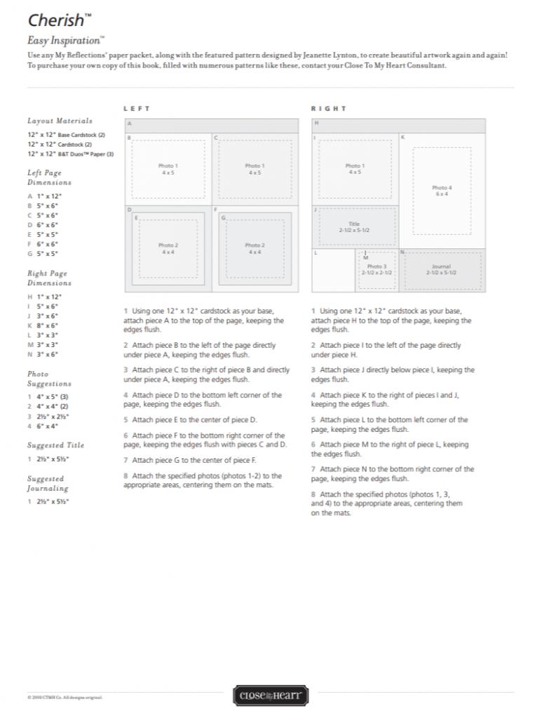 CTMH Cherish Easy Inspiration Pattern Page 1
