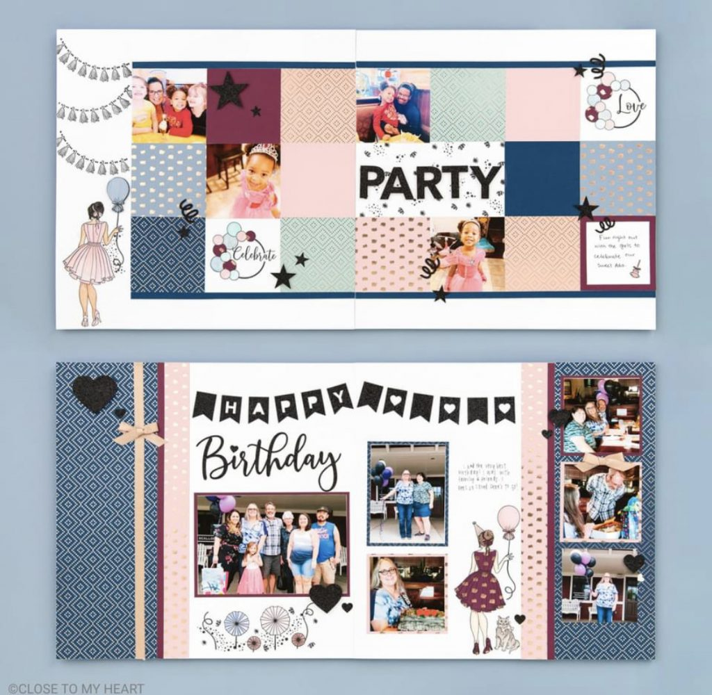 CTMH Party Girl Scrapbook Layouts