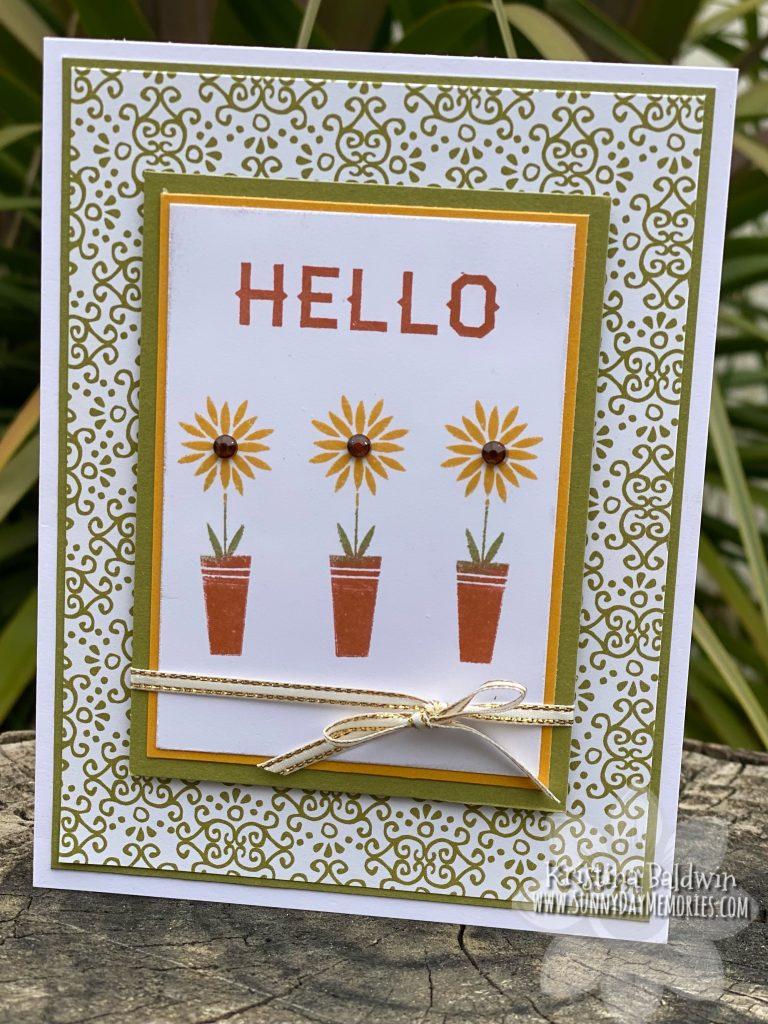 CTMH Scandinavian Folk Art Greetings Sunflower Card
