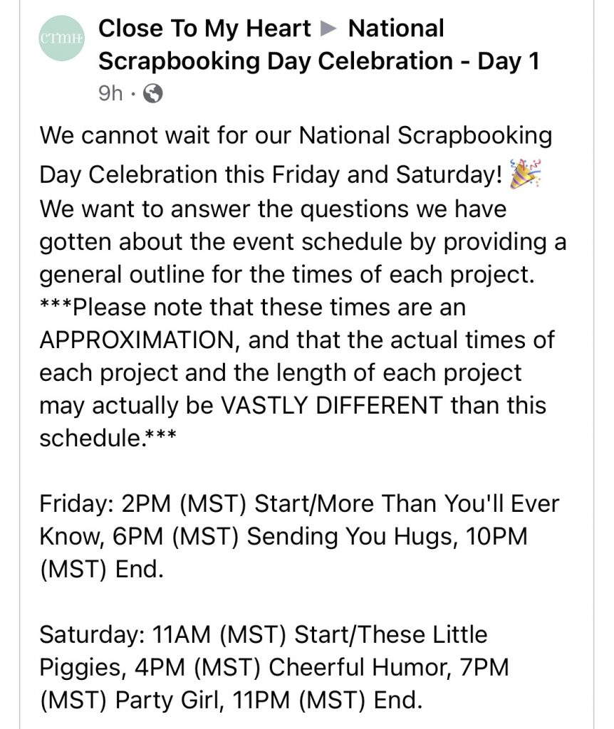 CTMH National Scrapbooking Day Celebration Schedule