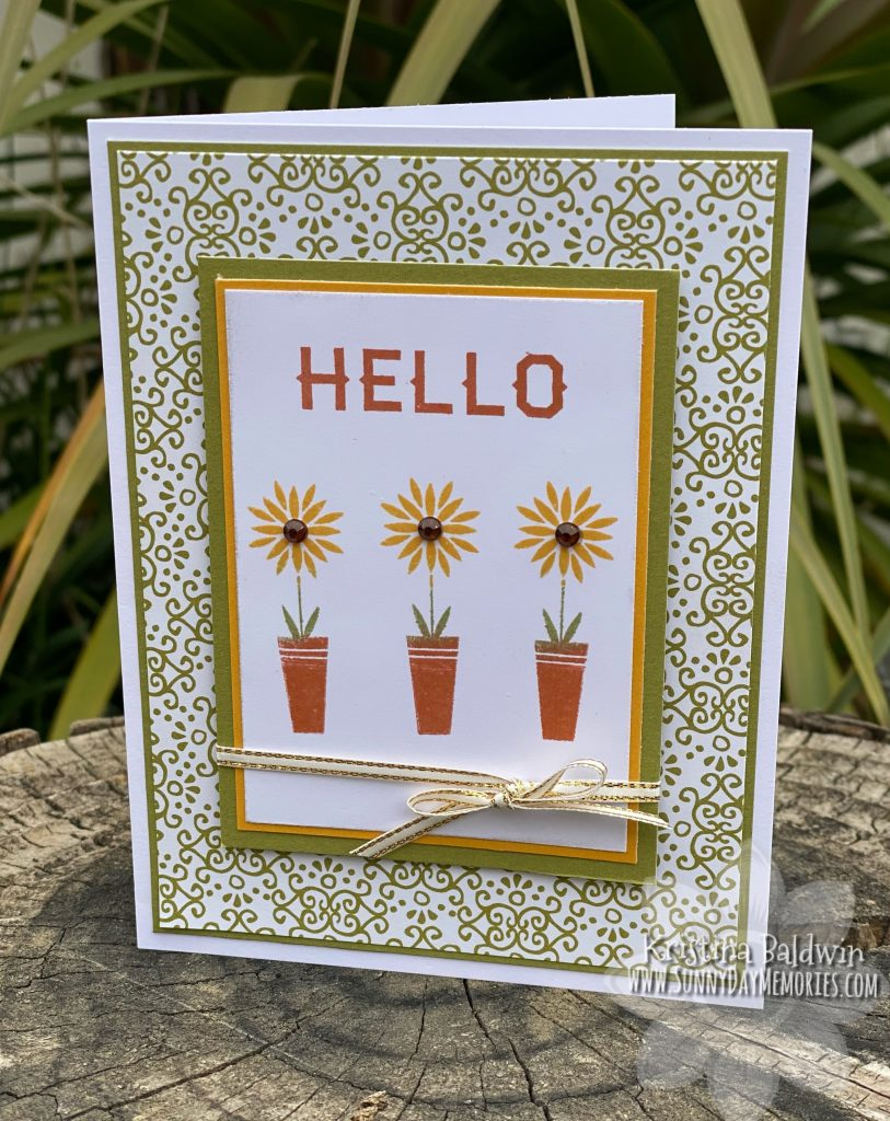 Scandinavian Folk Art Greetings Sunflower Card