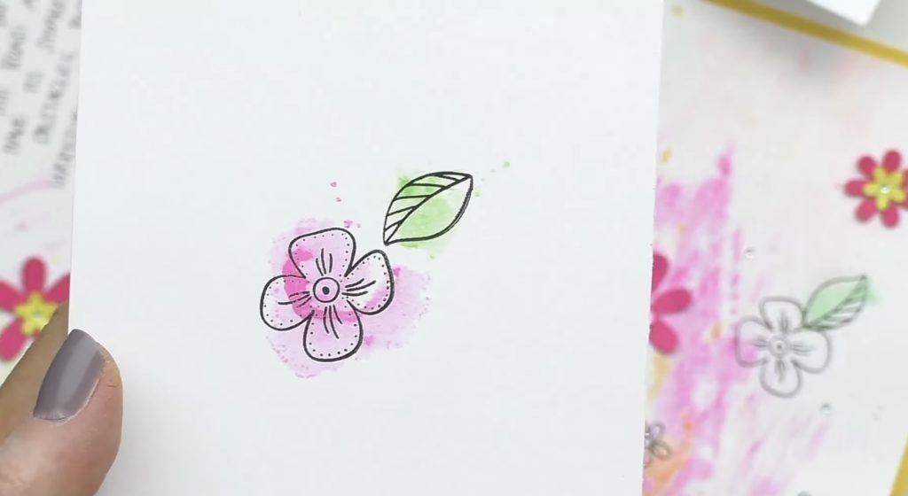Stamped Watercolor Smooshed Flower