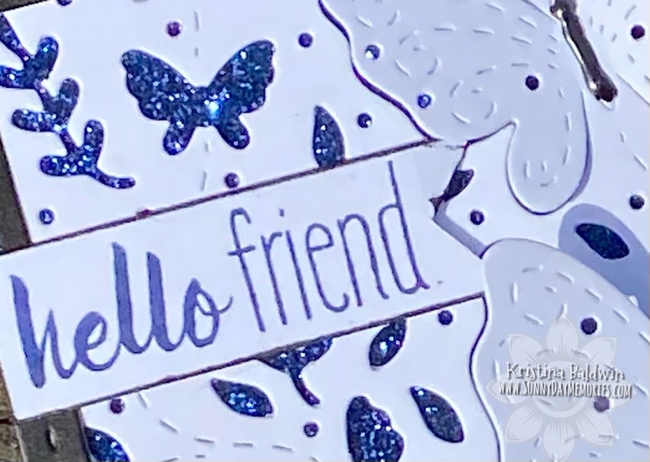 Closeup Hello Friend Butterfly Background Card