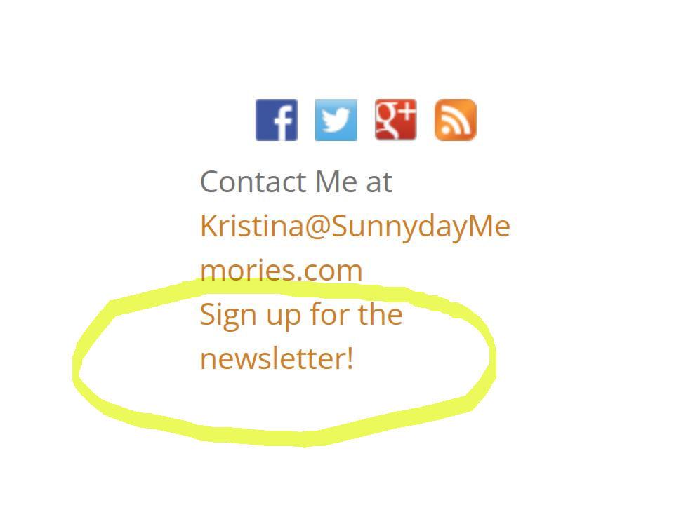 SunnyDay Memories Newsletter Signup